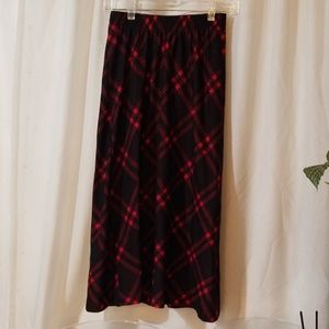 Long black and red plaid skirt